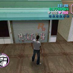 Rockstar Logo on the shop shutter in Little Haiti.