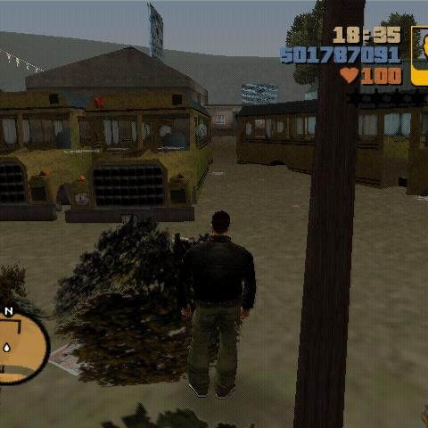 The crushed buses on the backyard of 8 Ball's compound in GTA III