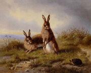 Carl Oswald Rostosky - Zwei Kaninchen und ein Igel 1861