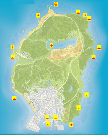 Wreck locations GTAV Map