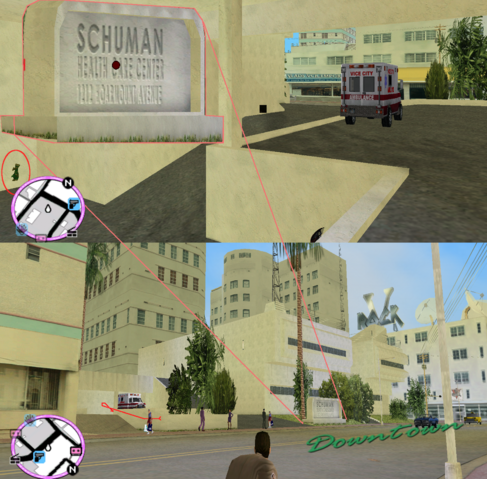 File:GTAVC HiddenPack 60 NW corner of underground ambulance park behind Schuman Helth Center.png