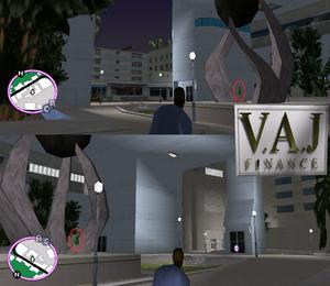 GTAVC HiddenPack 57 center of sculpture in VAJ finance building atrium