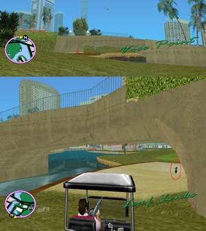 GTAVC HiddenPack 46 under W abutment of bridge from Leaf Links to Washington Beach