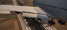 Landing airliner