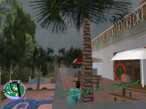 GTAVC HiddenPack 53 S upstairs patio of Rockstar logo pool W central house