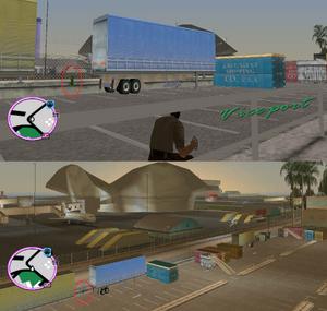 GTAVC HiddenPack 80 SW Corner of truck park S of Escobar VCT-PD
