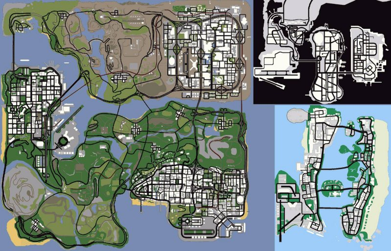 GTA San Andreas map zoomed out with no draw distance fog  gaming