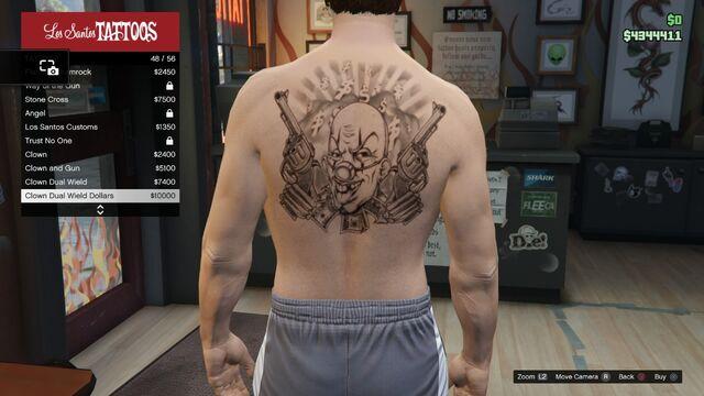 File:Tattoo GTAV Online Male Torso Clown Dual Wield Dollars.jpg