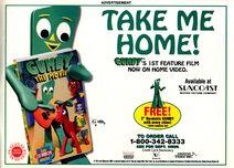 Nickelodeon Magazine February 1996 Gumby the Movie VHS video advertisement