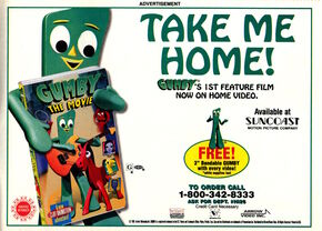 Nickelodeon Magazine February 1996 Gumby the Movie VHS video advertisement