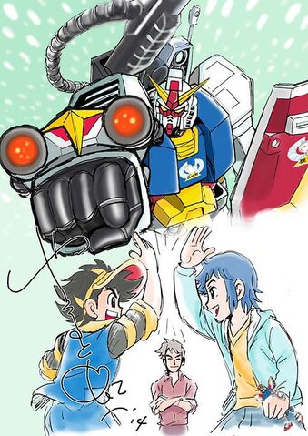 File:Plamo-Kyoshiro and Gundam Build Fighter art.jpg