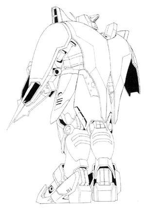 XXXG-01D2 Gundam Deathscythe Hell Back View Lineart