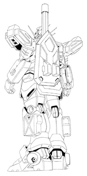 XXXG-01H Gundam Heavyarms Back View Lineart