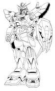 XXXG-01SR Gundam Sandrock Front View Lineart