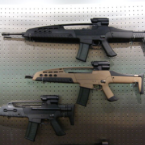 A rack of a XM8 LMG, a XM8, and a XM8C.