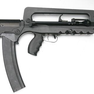 FAMAS rifle with a 50-round magazine