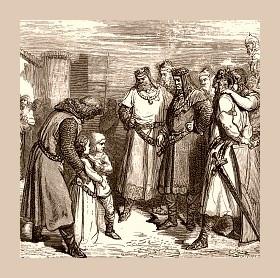 Radegunde og hennes unge bror blir tatt som gisler. Biskop Desideratus av Verdun er muligens personen til venstre i bildet