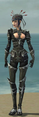 Necromancer Tyrian Armor F gray front
