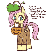 68782 - artist-lulubell costume firsuit fluttershy Halloween nightmare night tree