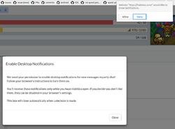 Desktop Notifications Pop-Up Dialog