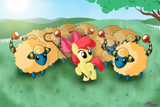 File:54360 - apple bloom artist willdrawforfood1 crossover mareep pokemon.png