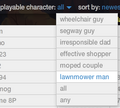 Lawnmower character selection