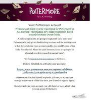 Pottermore e-mail