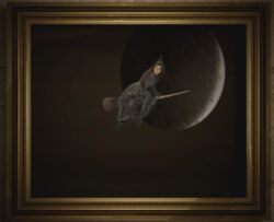Portrait of a witch flying to the moon