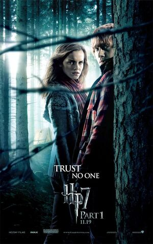 File:Harry Potter and the Deathly Hallows Part I Teaser One Sheet Movie Poster - Trust No One - Emma Watson as Hermione Granger & Rupert Grint as Ron Weasley.jpg