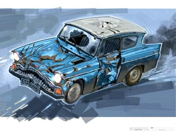 image disfigured flying ford anglia concept artwork for the hp2 movie 01 jpg harry potter. Black Bedroom Furniture Sets. Home Design Ideas