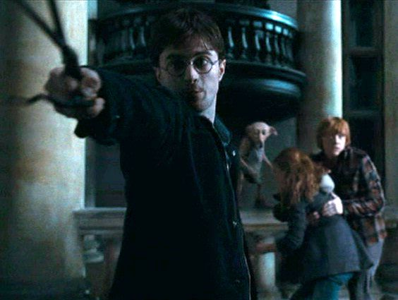 File:Skirmish at Malfoy Manor harry hermione ron dobby.jpg