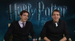 James and Oliver Phelps; behind-the-scene