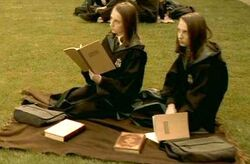Flora and Hestia Carrow studying at Transfiguration Courtyard.JPG
