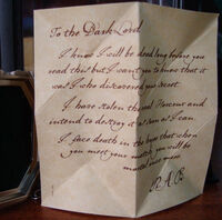 R.A.B. letter to the Dark Lord pertaining to the Horcrux Locket