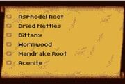 Herb list contents
