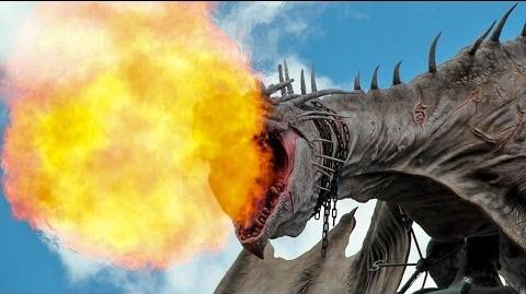 Diagon Alley Dragon breathing fire in Wizarding World of Harry Potter at Universal Orlando