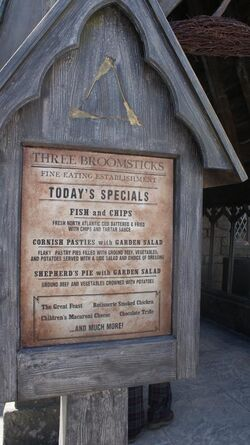 Three Broomsticks Menu