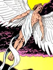 Angel Gabriel flies through the air