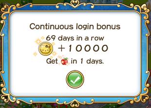 Login bonus day 69