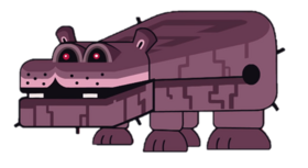 Swamp Hippo King White Background