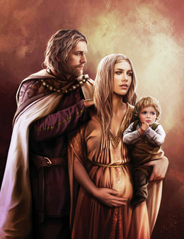 King Jaehaerys I and Good Queen Alysanne with their son, Prince Aemon by Magali Villeneuve©.png