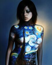 Starry night body painting