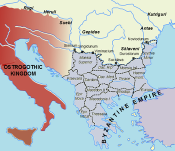Southeastern Europe in 520, showing the Byzantine Empire under Justin I and the Ostrogothic kingdom