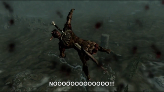 Hitler encounters a Giant in The Elder Scrolls V Skyrim