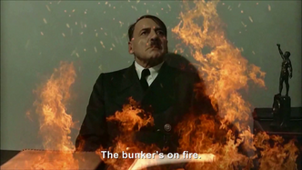 Hitler is informed the bunkers on fire