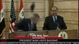 Hitler throws his shoes at President Bush