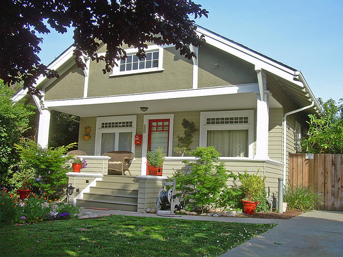 the front of a craftsman style house american craftsman style