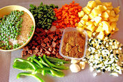 Ingredients for dinner (Fried rice with vegetables and vegameat)