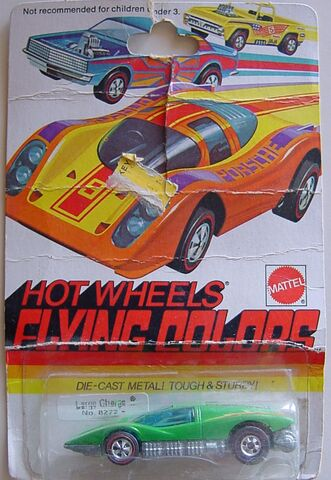 File:1974 LArge Charge-red flying colors-die cast in yellow- 74 check list front.jpg