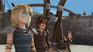Snotlout, Hiccup and Astrid by the sheep launcher